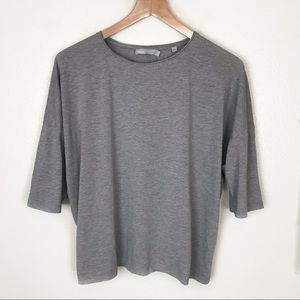 VINCE Cotton & Silk Dropped Relaxed Shoulder Tee